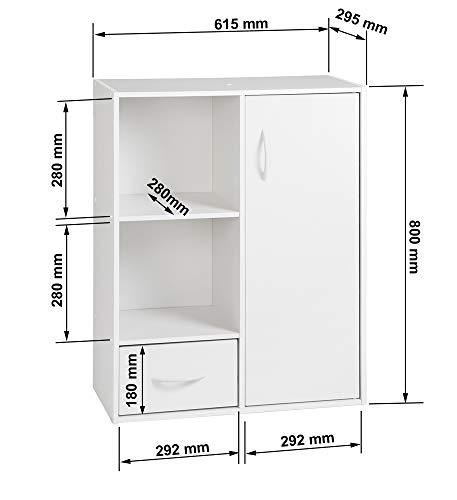 Alsapan Compo Meuble de Rangement 2 Casiers + 1 Tiroir + 1 Porte Bibliothèque Etagères Cubes Blanc 61,5 x 29,5 x 80 cm