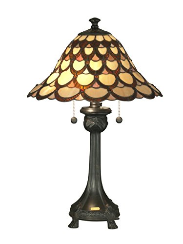 (Dale Tiffany TT70110 Peacock Table Lamp, One Size, Antique Bronze)