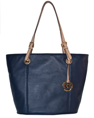 Michael Kors Navy Leather Jet Set Item LG Tote Handbag Bag Purse by Michael Kors