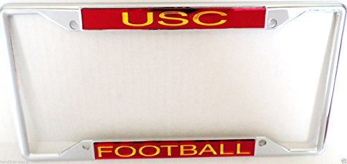 USC Trojans Football Chrome Metal License Plate Frame (Metal Usc)