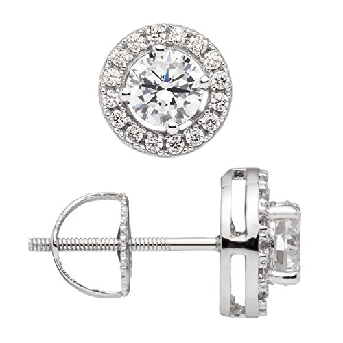 Everyday Elegance | 14K Solid White Gold Stud Earrings | Round ''Halo'' Cubic Zirconia | Screw Back Posts | .48 ct center, .60 cttw each, 1.20 cttw | With Gift Box by Everyday Elegance Jewelry