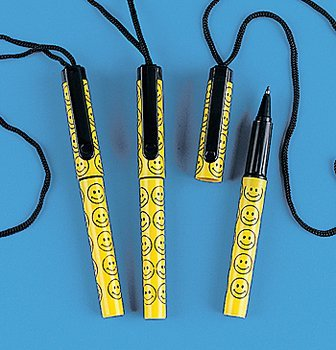 Necklace Cord Pens - Smile Face Pens On A Rope - Office Fun & Office Stationery