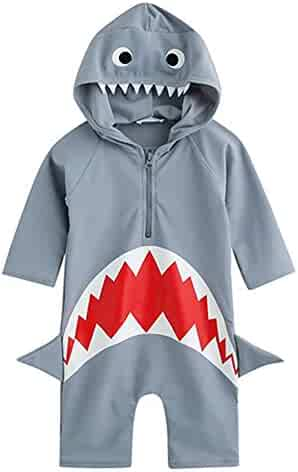 2e38b72ac2 Collager Toddler Baby Boys Girls One-Pieces Cute Rash Guard Long Sleeve  Swimsuit Sun Protection