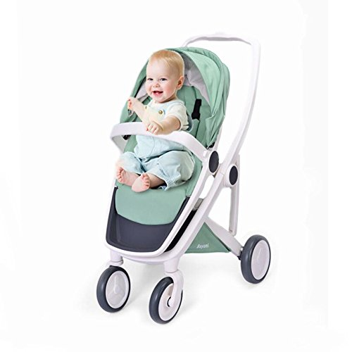 - Stroller Pram Four Seasons Universal Folding Adjustable Two-Way Trolley Lightweight Four-Wheel Suspension Trolley (can Withstand 70 Kg),Green