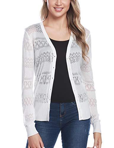 iClosam Women Knitted Bolero Shrug Long Sleeve Crochet Button Down Cardigan Sweater