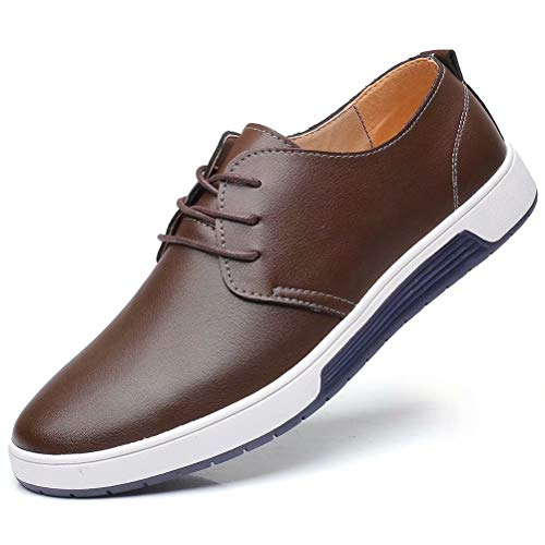 (konhill Men's Casual Oxford Shoes Breathable Flat Fashion Lace-up Dress)