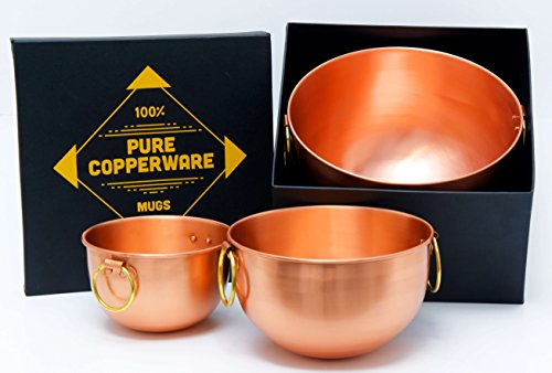 Mixing Bowl Set Pure Copper - Premium Quality Bowls Design Ayurveda Health Benefits Solid Handcrafted Handmade Finish Perfect for Gifts...
