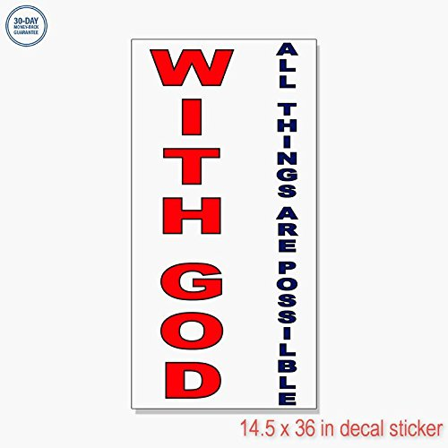 3360 Labels - With God All Things Are Possible Red Blue DECAL STICKER Retail Store Vinyl Label Sign - Sticks to Any Clean Surface 14.5 x 36 in