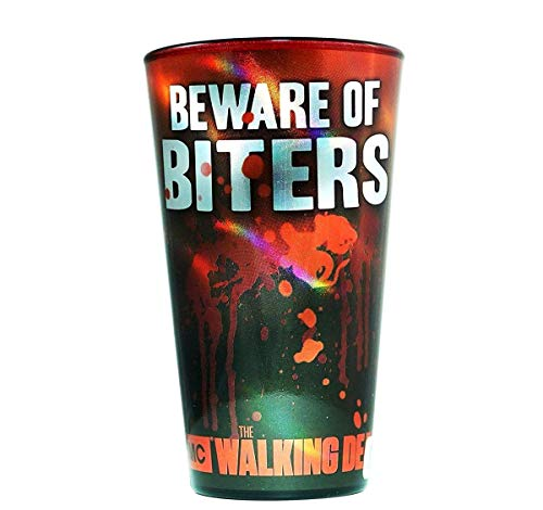 JUST FUNKY The Walking Dead Seasons Games & Gifts (AMC) Pint Glass - Novelty Drinking Glasses Kids Gifts Toys and Games Beer Glasses (Beware Of The Biters),Set of 2
