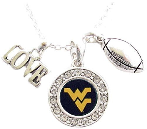 West Virginia Mountaineers Multi Charm Love Football Blue Silver Necklace Jewelry WVU ()