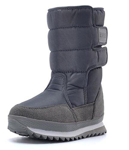 WUIWUIYU Women's Frosty Fur Lined Snow Boots Gray