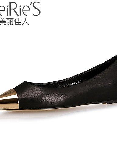 PDX/ Damenschuhe Denim Jeans Flacher Absatz Komfort/Spitzschuh/Geschlossene Zehe Ballerinas Lässig Schwarz/Blau/Rot black-us5.5 / eu36 / uk3.5 / cn35