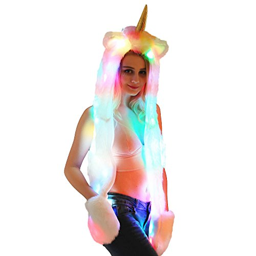Missley LED Unicorn Hat Scarf Gloves Warm Light up Hood Faur Fur Cosplay Headwear with Coloful Light Best Xmas -