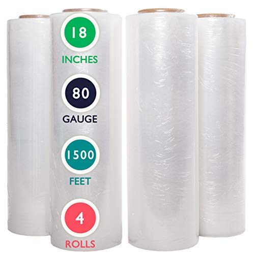 4 Rolls 18 inch x 1500 Feet Stretch Wrap 80 Gauge Heavy Duty Shrink Film, Extra Strong 18 inch Clear Hand Stretch Wrap