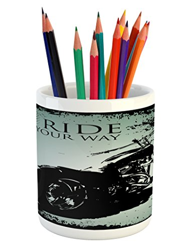Splatter Motorcycle - Lunarable Vintage Pencil Pen Holder, Retro Motorcycle with Black Dots and Splatters Chopper Road Trip Artwork, Printed Ceramic Pencil Pen Holder for Desk Office Accessory, Black and Pale Blue