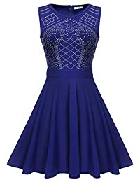 Meaneor Women's Sleeveless Sequin A Line Rhinestone Cocktail Party Dress