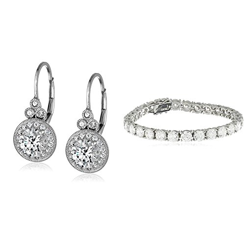 Platinum-Plated Sterling Silver Swarovski Zirconia Round-Cut Tennis Bracelet and Vintage Leverback Halo Earrings Set