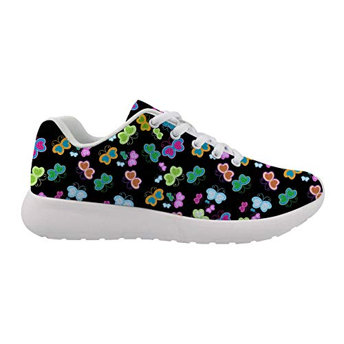 Running Shoes 3D Printed Colorful Butterflies on Black Upper White-Soled Casual Sneakers are Comfortable for Womens.
