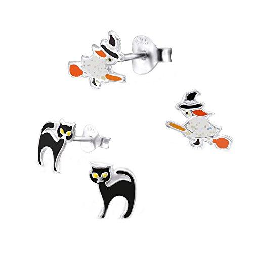 SL Silver Juego de kinderohr anillos Bruja y gato 925plata en caja de regalo
