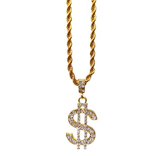 TUOKAY direct 18K Gold Rope Chain for Men with Dollar Sign Pendant Iced Out Necklace for Rapper, Sparkling Dollar Symbol Gold Chain for Rap Gangsta, 24 inches]()