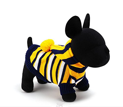 Dorapocket Pet Dog Spring Autumn Winter Suit Thickening Turtleneck Warm Knitted Hoodies Puppy Small Dog Cat High Collars Knitted Sweaters Halloween Christmas Holiday Clothing,Stripe Yellow (Nfl Raiders Uniform Costumes)