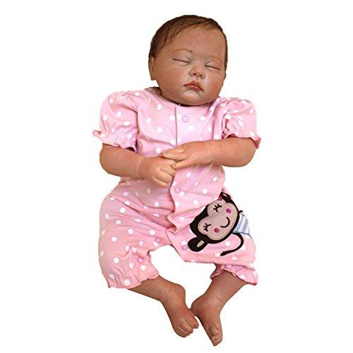 Binglinghua 20 inch Handmade Real Looking Newborn Baby Vinyl Silicone Realistic Reborn Doll Girl