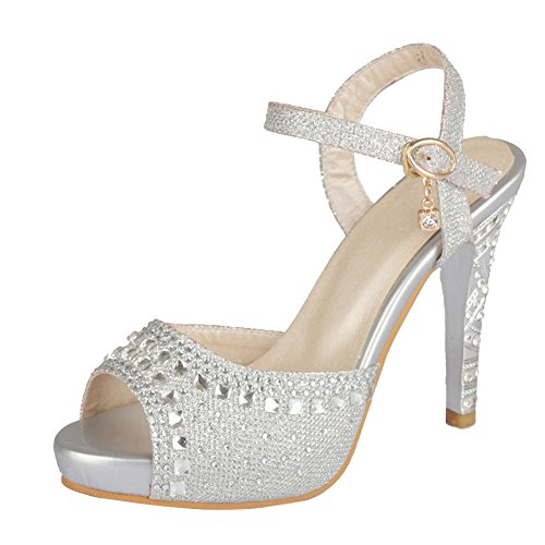 Carolbar Women's Charm Fashion High Heel Rhinestones Dress Sandals Silver