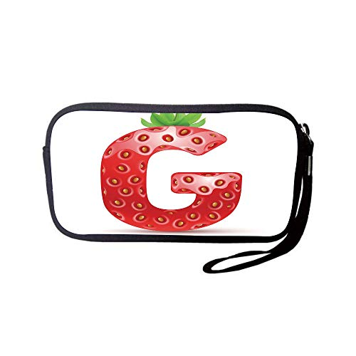 iPrint Neoprene Wristlet Wallet Bag,Coin Pouch,Letter G,Exotic Berry Style with Green Leaves Healthy Gourmet Ripe with Seeds Decorative,Vermilion Green Orange,for Women and Kids