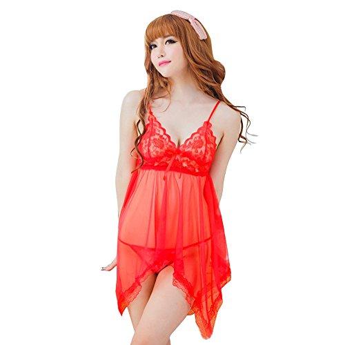 2019 New-Women's Sexy Sleepwear, Ladies Lace Camis Bow Babydoll Lingerie Pajama Set Racy Nightwear Sleepdress (Red, A)