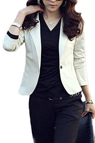 Slim Es Chaqueta Fit La Elegante Office Botones Corta White Mujer 1 Solapa 5zqzAw0