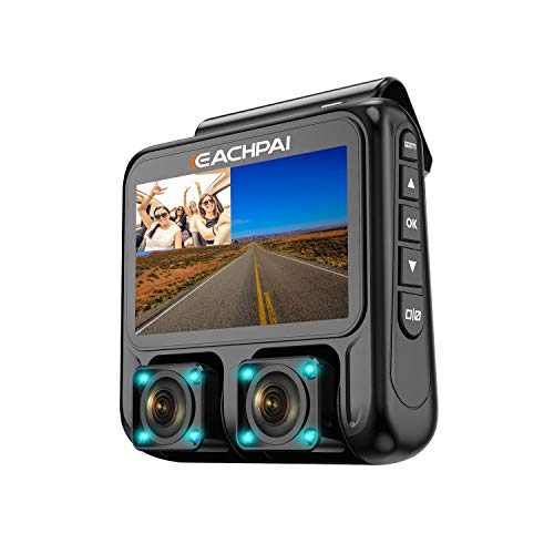 Dual Dash Cam 3.0 LCD Full HD1920x1080P Front and Rear Sony Sensor Car Camera GPS Infrared Super Night Vision G-Sensor FREE 32GB Card EACHPAI X100 for Uber Lyft Taxi