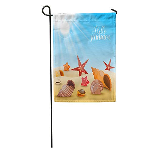 Semtomn Garden Flag Blue Starfishes Beach Composition Shells and Starfish Sand Title Hello Home Yard House Decor Barnner Outdoor Stand 28x40 Inches ()