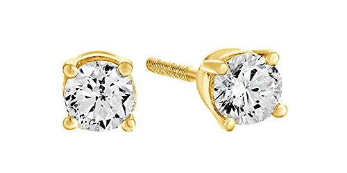 14K Solid Yellow Gold Natural Diamond Solitaire Stud Earrings With Screw Back (0.33 Ct) 14k Yg Diamond Earrings
