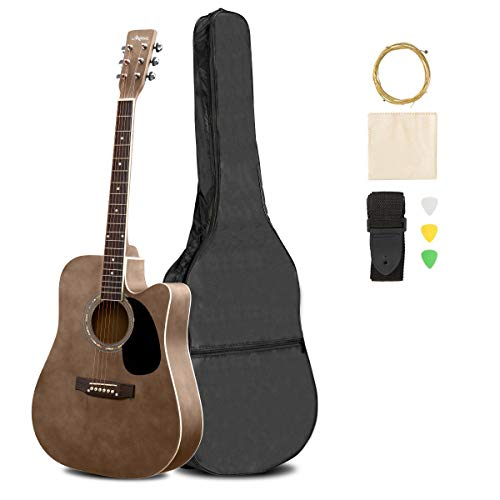 ARTALL 41 Inch Handcrafted Acoustic Cutaway Guitar Beginner Kit with Gig bag & Accessories, Matte Mocha