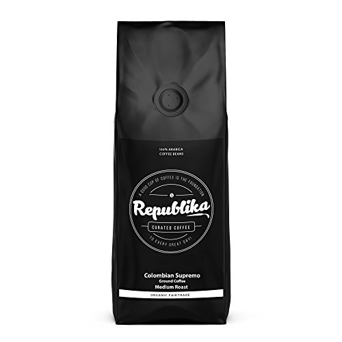 Republika Coffee Fairtrade Low-Acid Organic Coffee (Colombian Supremo Medium Ground Coffee, 2 lb)