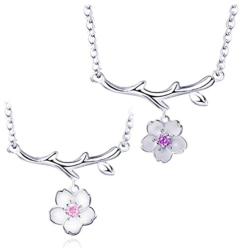 925 Sterling Silver Daisy/SAKURA/Snowflake Flower Crystal Pendant Necklace Earring Bracelets Ring Set for Women (Purple Pink Crystal SAKURA Flower)