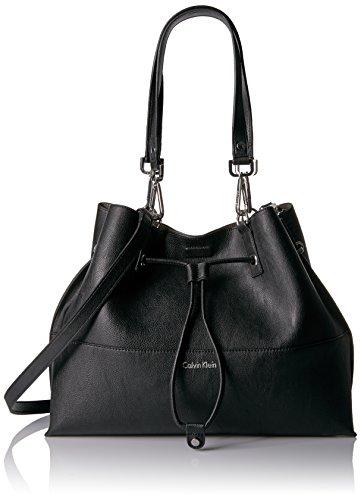 Calvin Klein Unlined Drawstring Tote, Black/G…