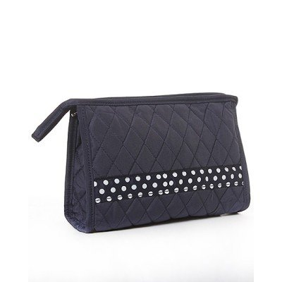 Belvah Black Quilted Cosmetic Bag White Polka Dots (Bag Belvah Cosmetic)