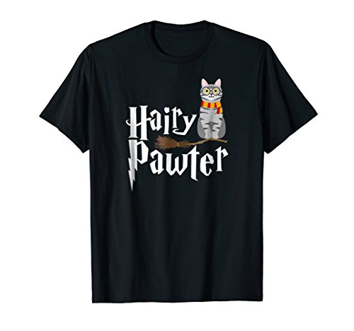 Funny HARRY PAWTER Pun T-Shirt Wizard Gift Cute Cat Lovers ()