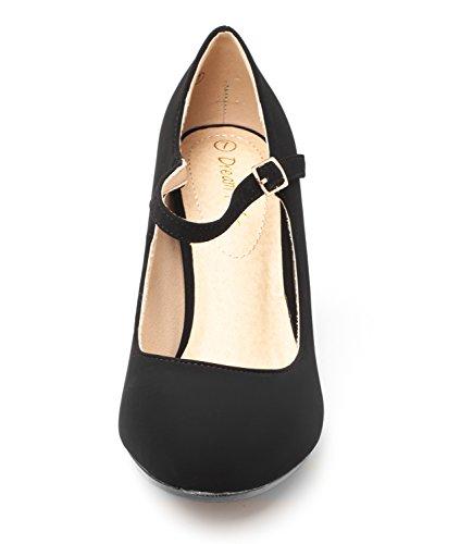 Droomparen Gloria Dames Nieuwe Klassieke Elegante Veelzijdige Stiletto-jurk Plateau Pumps Hakken Schoenen Zwarte Nubuck