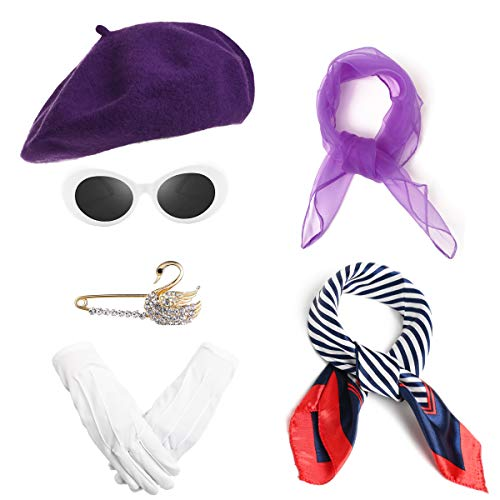 Women French Beret Hat Mime Costume Chiffon Scarf Silk Scarf Brooch Gloves Oval Sunglasses Fancy Dress Accessories (1-Purple)