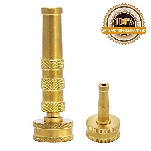 Twinkle Star Solid Brass Heavy Duty Adjustable Twist Hose Nozzle Jet Sweeper Nozzle, -