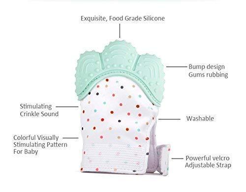 1 PC Pain Relief tranquilizadora de edad 3-12 meses protege manos beb/és de salvia /& kauen copias ajustable correa.De color azul pastel soyar Multicolor Baby dentici/ón Manoplas
