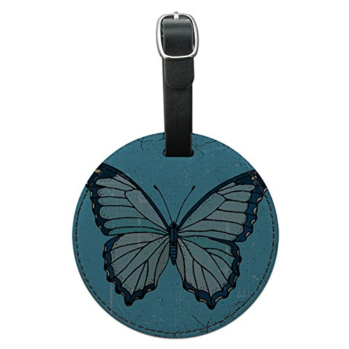 - Graphics & More Butterfly Artsy Blue Round Leather Luggage Id Tag Suitcase Carry-on, Black