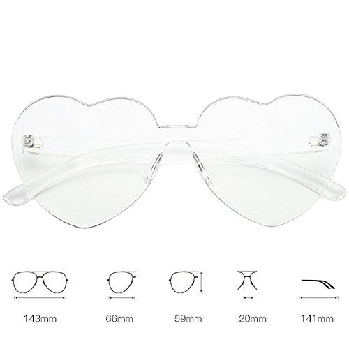 shaped Lens Plastique Protection Cadre Lentille 5cm soleil UV Candy 5 couleur Lunettes Unique Transparent Lunettes Clear Rimless de 4 Xinvision Spectacles Mode Heart 14 UV400 14 SaWxnOvwZE