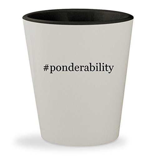 #ponderability - Hashtag White Outer & Black Inner Ceramic 1.5oz Shot Glass