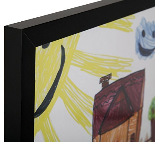 RAS Kids Art Frame - Boxed Style Wide Frame Edge Construction Paper Removable Acrylic Pane Cardboard Backing with Hooks - [Black - 9x12''] by RAS for Kids (Image #3)