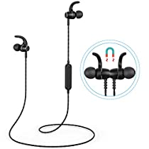 Bluetooth Headphones, Magnetic Wireless Stereo Bluetooth Earphones, Bluetooth 4.1 Sport Headset with Mic, TF SD Card Slot, NoiseCancelling