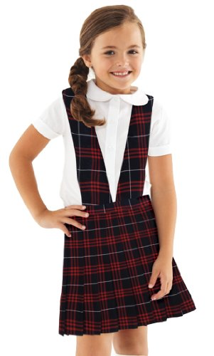 French Toast Girls V-Neck Navy/Red Plaid Jumper (6X, Navy/Red (Navy Red Plaid Dress)
