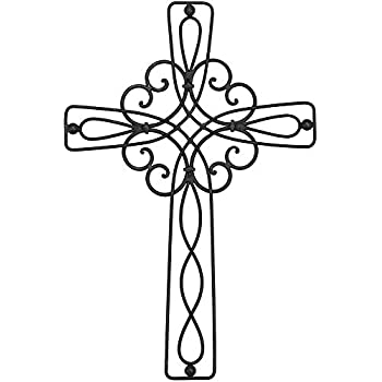 Amazon.com: Large Elegant Metal Ornate Heart Cross Home